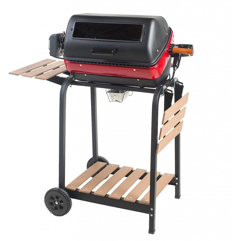 Easy-Street Electric-Cart Grill with 2 folding, composite-wood side-tables, shelf, & rotisserie.