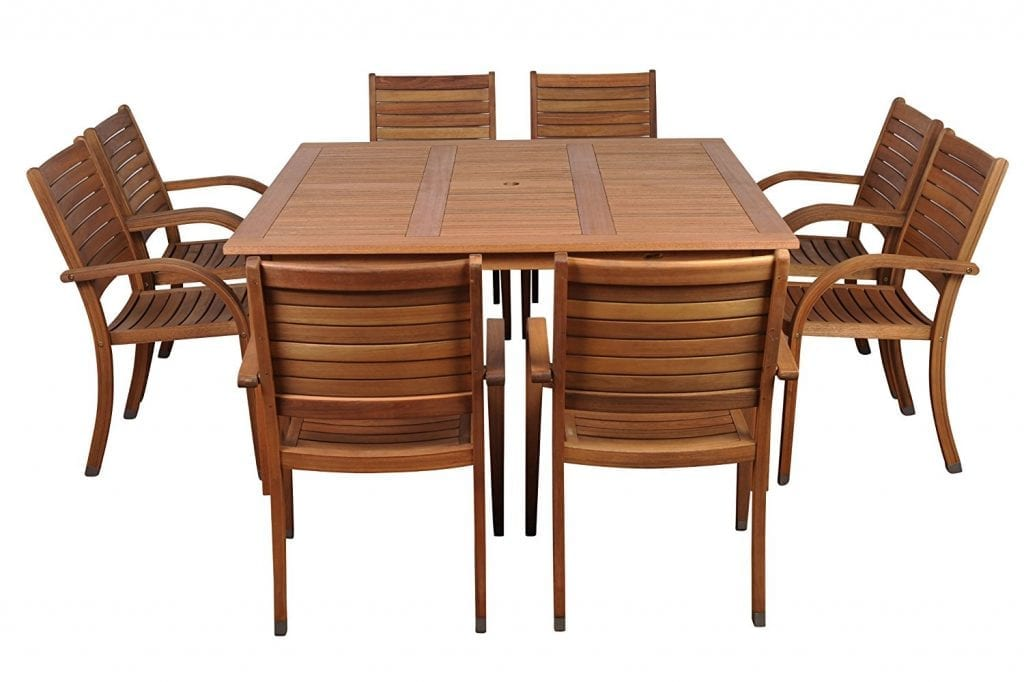 Amazonia Arizona Square 9-Piece Eucalyptus Dining Set