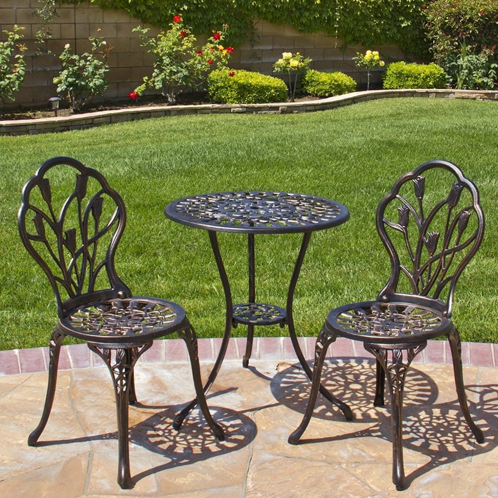 Best Choice Products 3-Piece Bistro Set Tulip Design Outdoor Patio Furniture