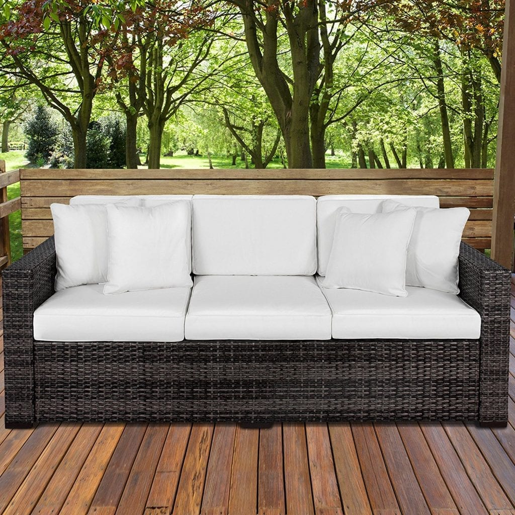 Best Choice Products Outdoor Wicker Sofa 3-Seat Couch Patio Furniture,