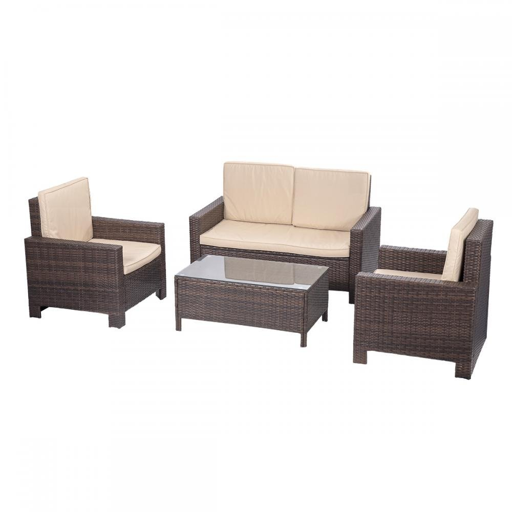 BestMassage 4pc Sofa Set Cushion PE Rattan Wicker Outdoor Patio