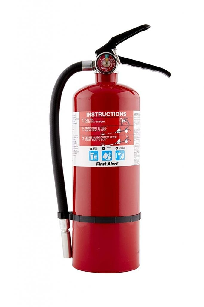 First Alert PRO5 Rechargeable Fire Extinguisher, Red