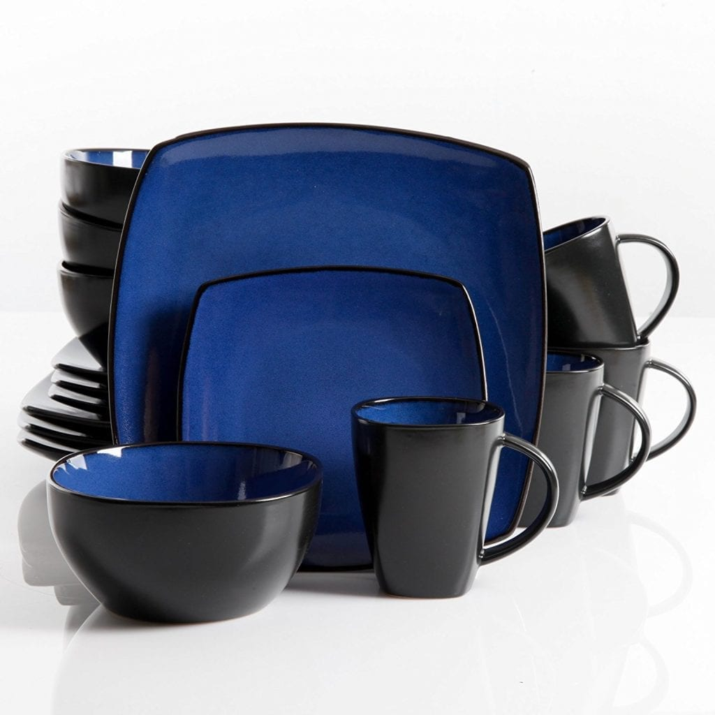 Gibson's Soho Lounge 16-Pieces Square Reactive Dinnerware Set