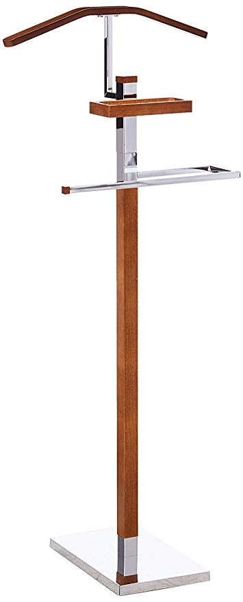 King's Brand Chrome/Tabacco Modern Wood & Metal Suit Valet