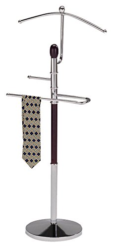King's Brand Walnut Finish Wood & Metal Suit Valet Rack Stand