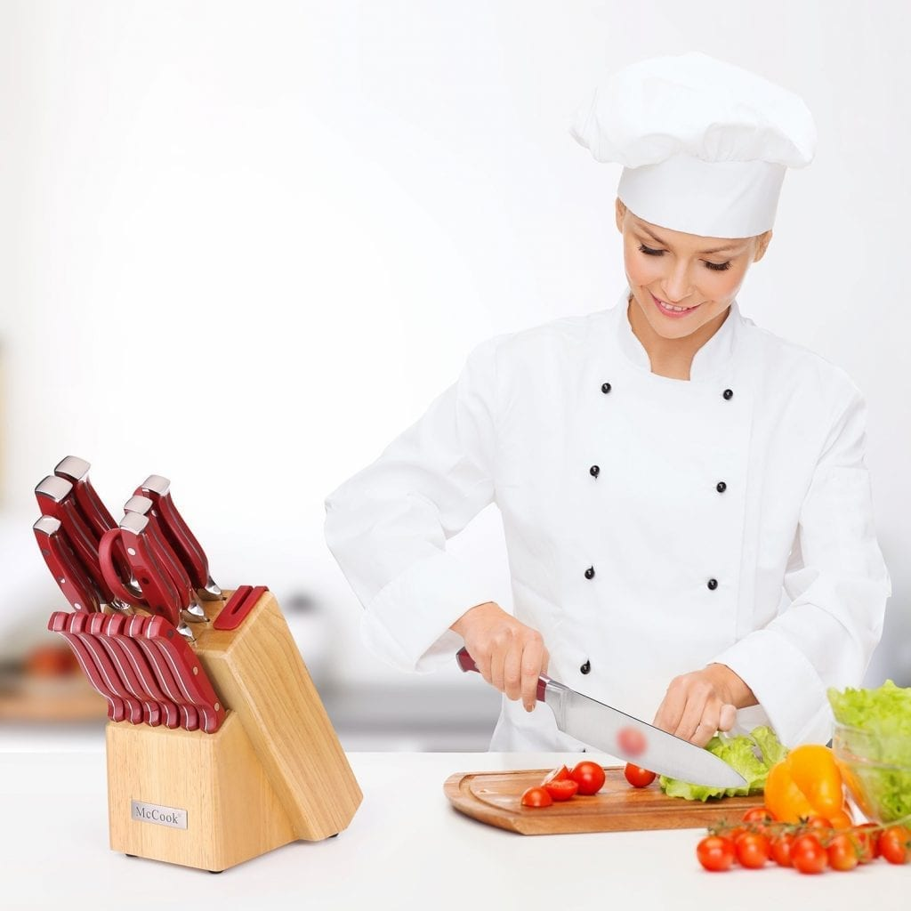McCook 14-Pieces High Carbon Stainless Steel Kitchen Knife Set, MC24