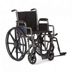 Medline Sturdy and Strong Wheelchair with Swing-Away Leg Rest for Easy Transfers