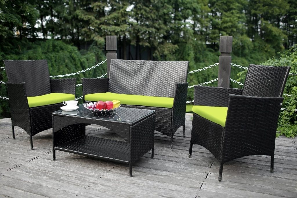 Merax 4-piece Outdoor Garden Furniture Set Chairs and Sofa