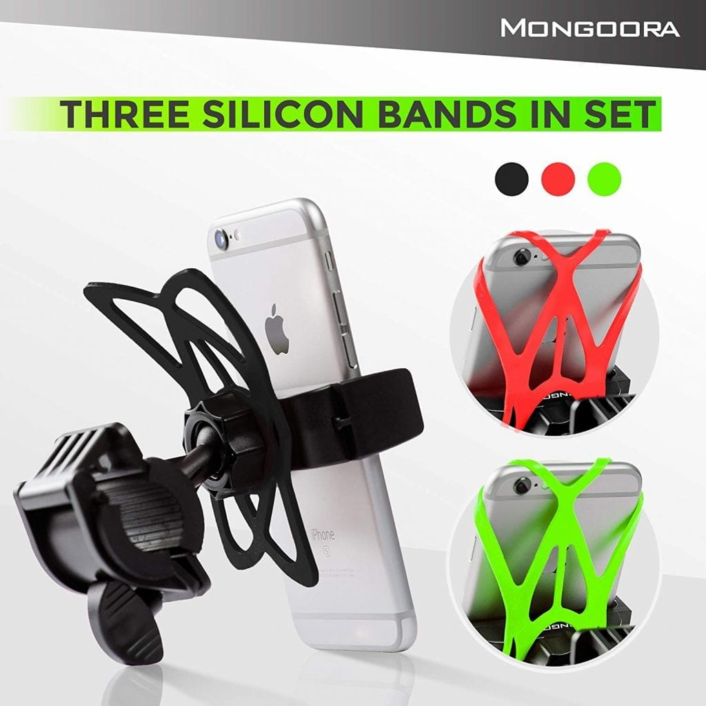 Mongoora Bike Motorcycle Phone Mount, Bike Accessories for any Smart Phone