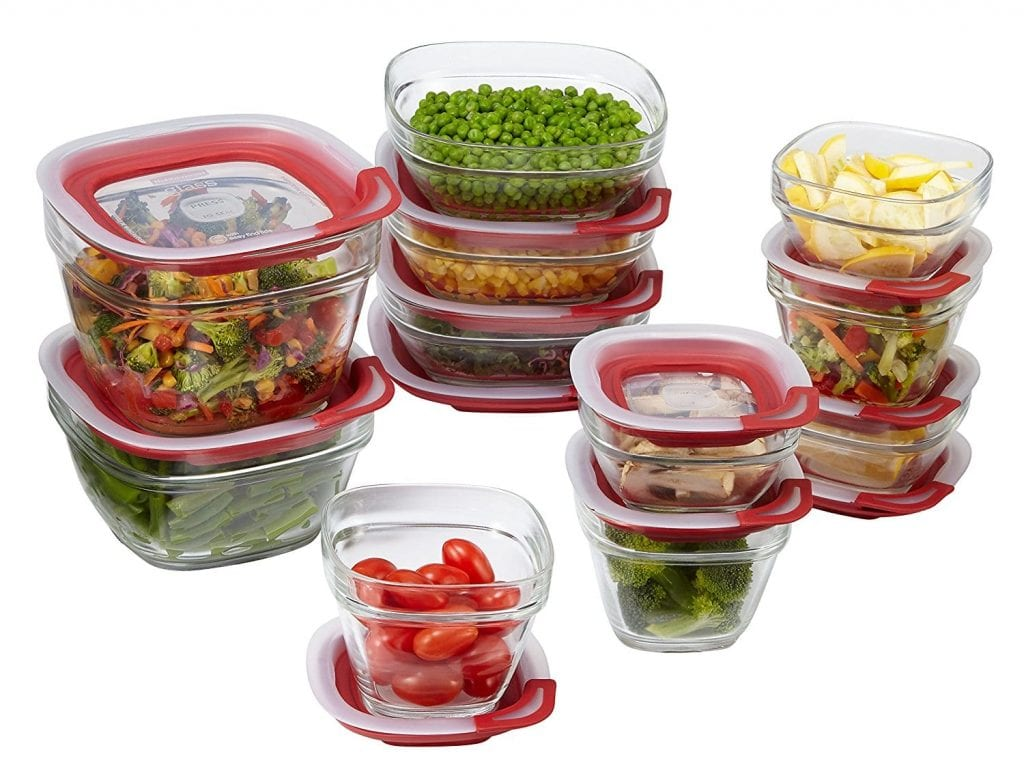 Rubbermaid 1865887 22-Piece Glass Easy Find Lids Food Storage Container