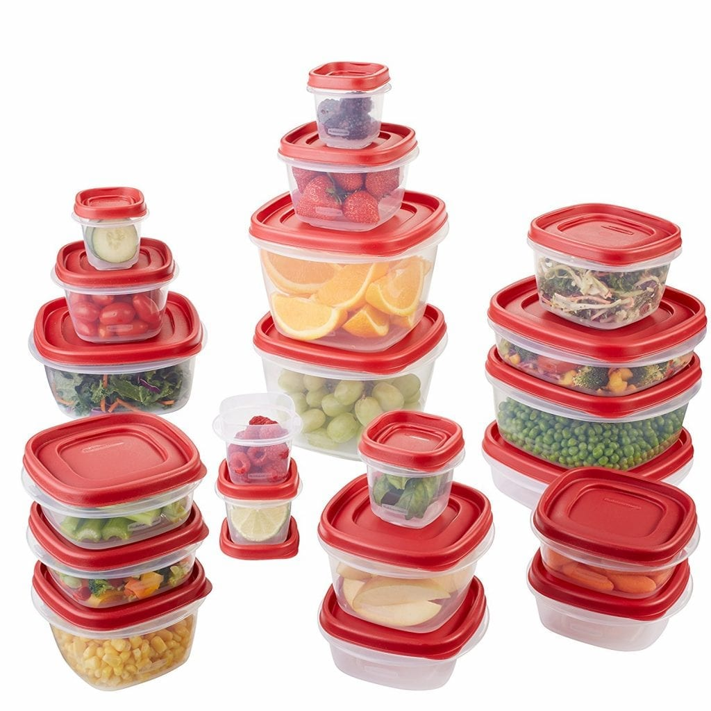 Rubbermaid 42-Piece Easy Find Lids Food Storage Container, Red