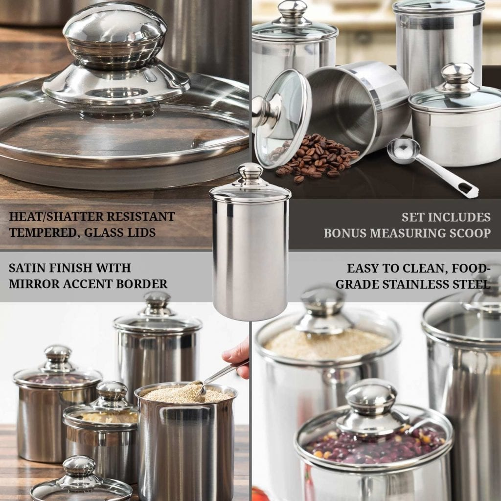 SilverOnyx Canister Set Stainless Steel - Beautiful Canister: