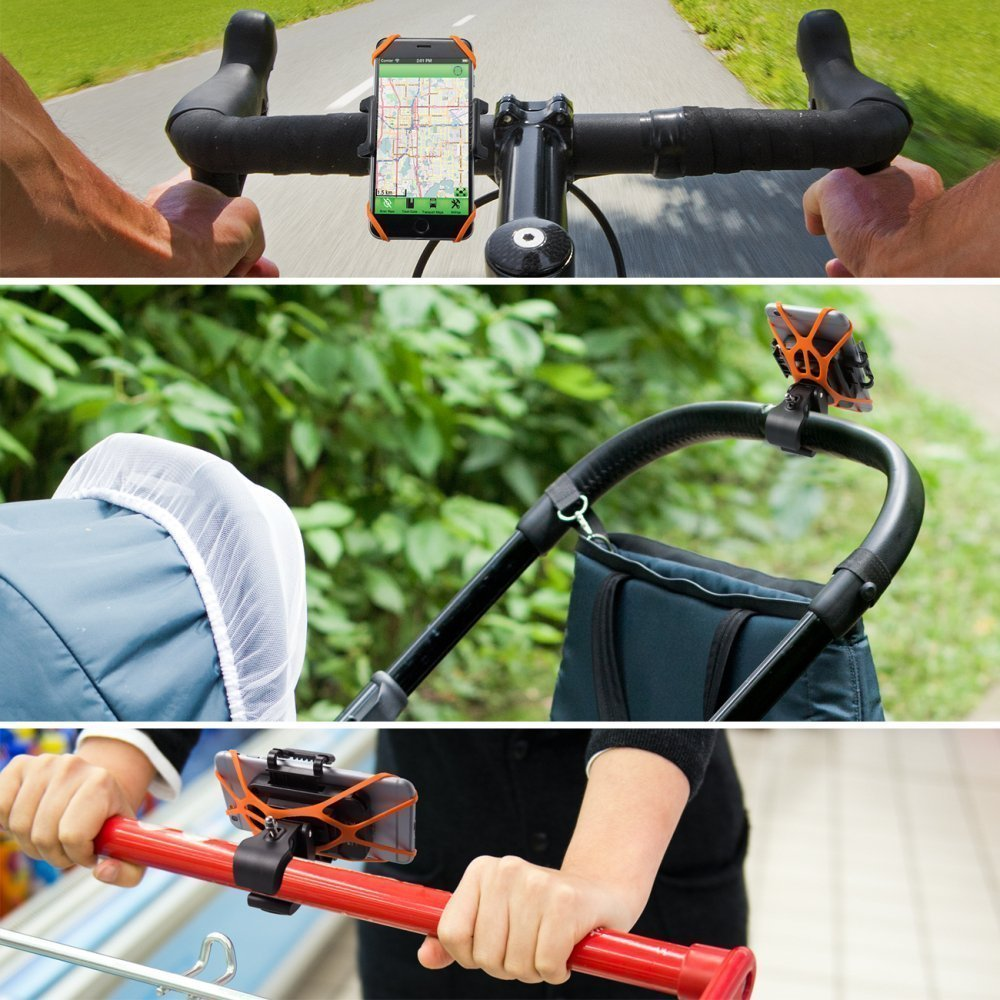 TaoTronics Bicycle Holder Bike Phone Mount for Boating GPS, Android iOS Smartphone, with Rubber Strap, 360 Degrees Rotatable, One-button Released