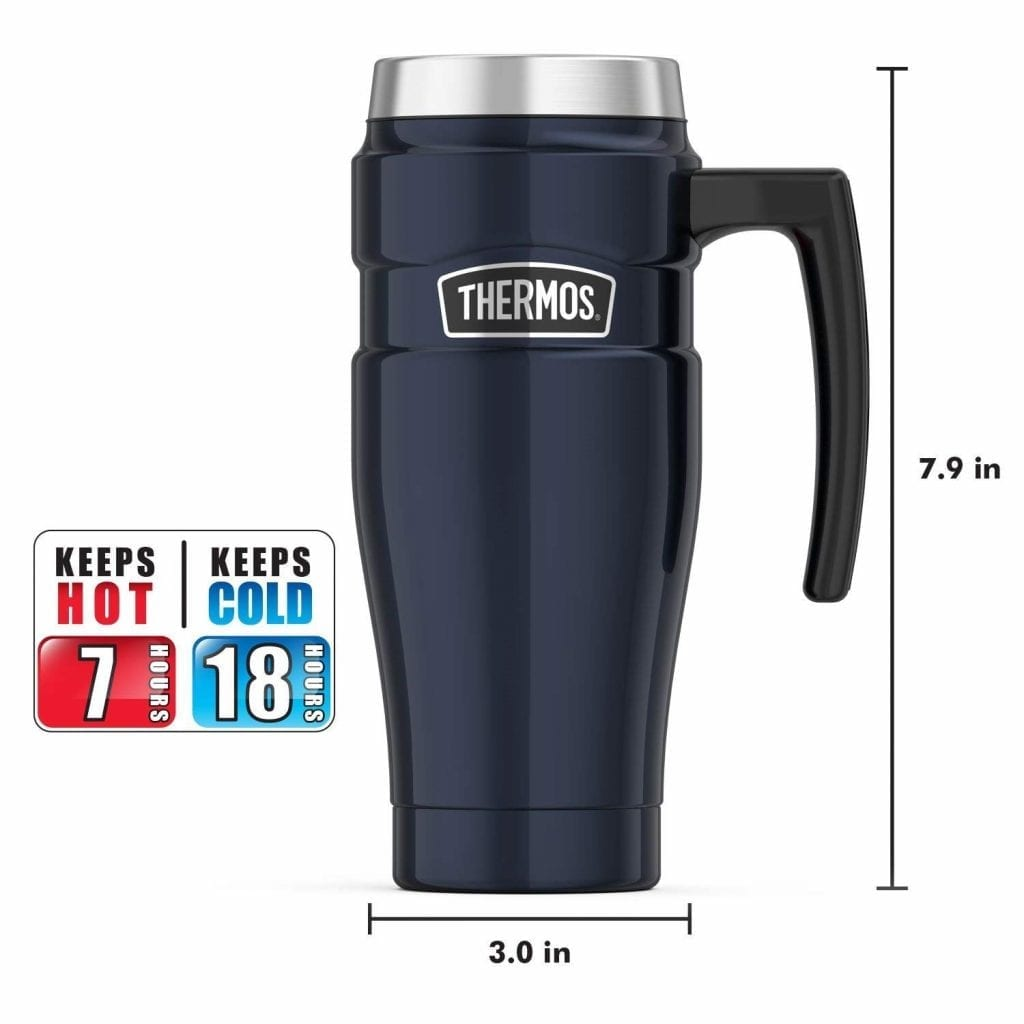 Thermos Stainless King Midnight Blue Travel Mug 16-Ounce With Handle