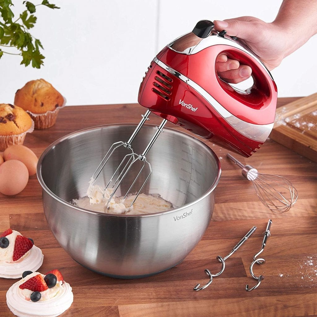 VonShef RED 250W Whisk Hand Mixer with Turbo Button, Chrome Beater, 5 Speed And Dough Hook