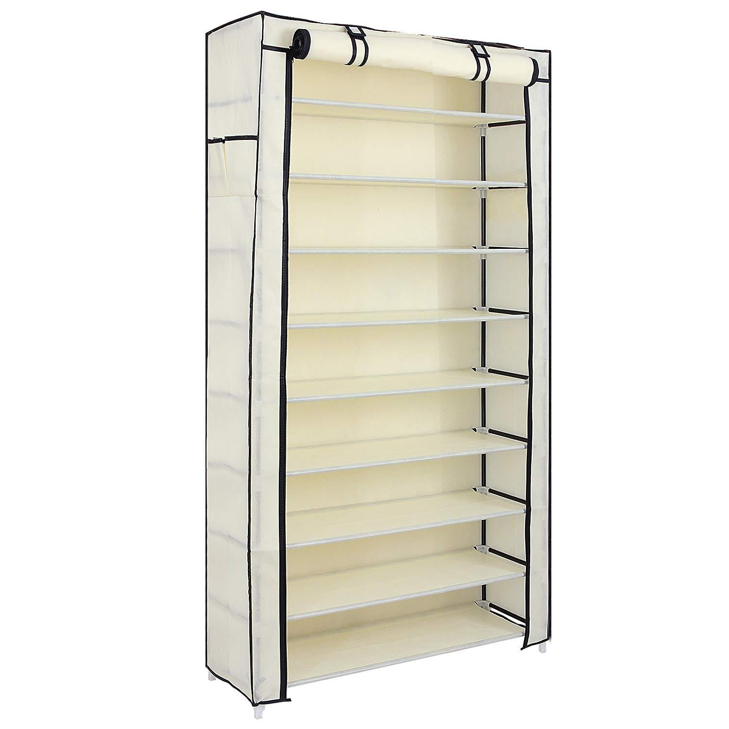 SONGMICS 10 Tiers Shoe Rack with Cover Closet