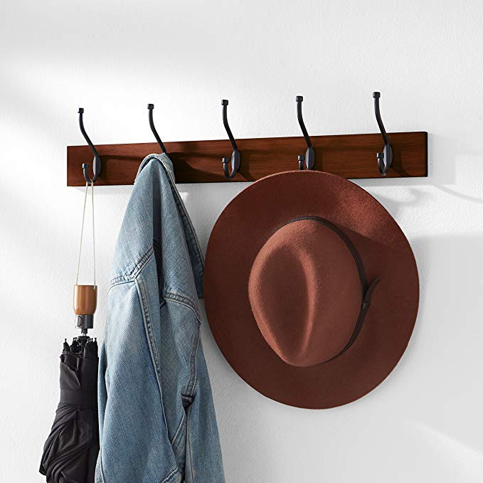 AmazonBasics Wall Mounted Coat Rack, Light Walnut
