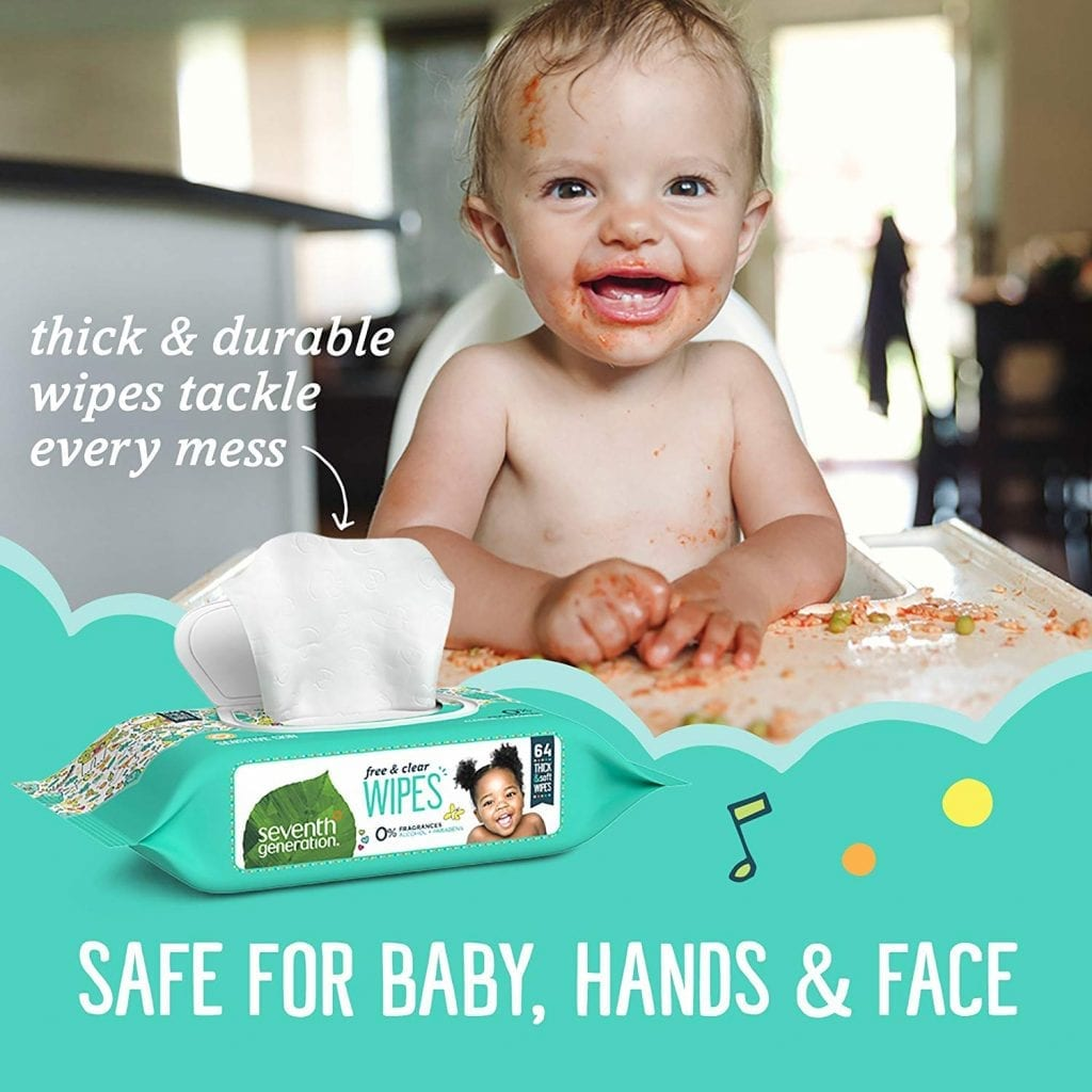 Seventh Generation Thick & Strong Free and Clear Baby Wipes Refill, Pack of 12