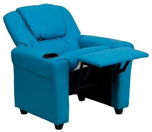 Contemporary Turquoise Vinyl Recliner Chair