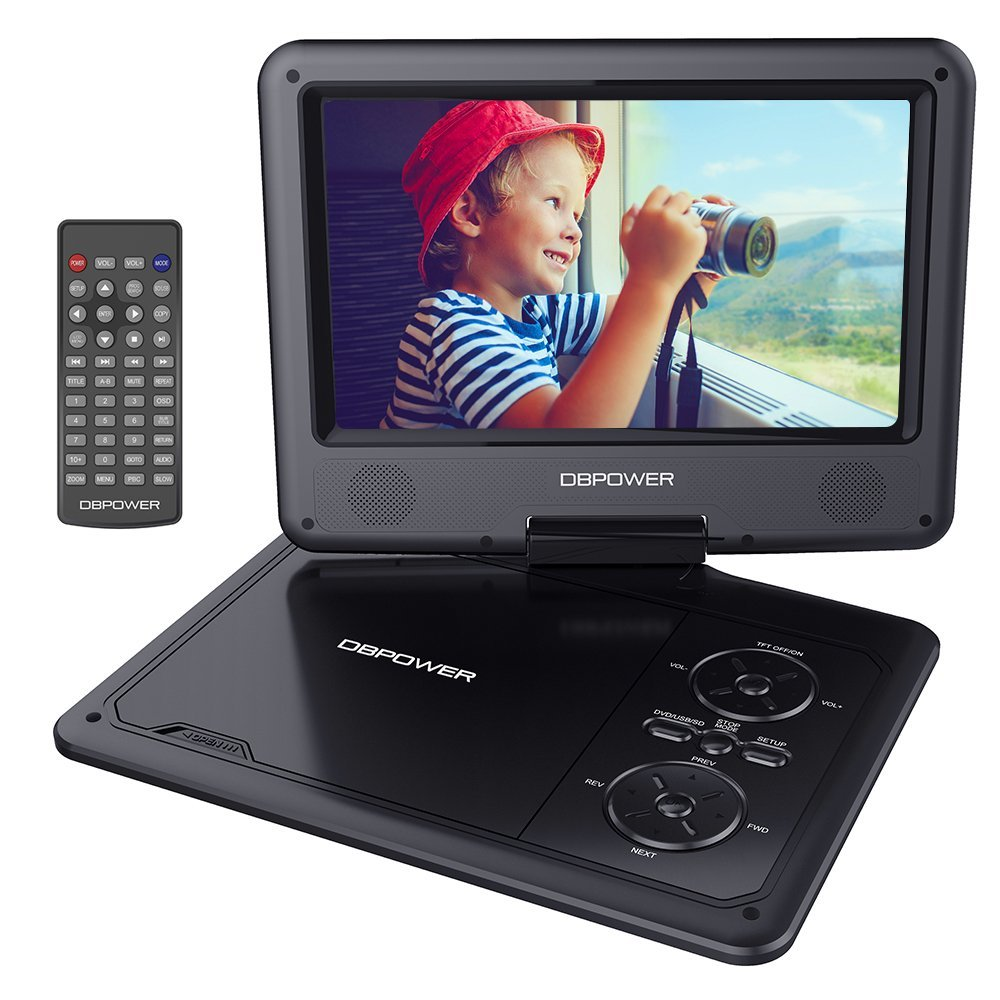 DBPOWER Portable DVD Player with SD Card Slot, Rechargeable Battery, and USB Port - Black