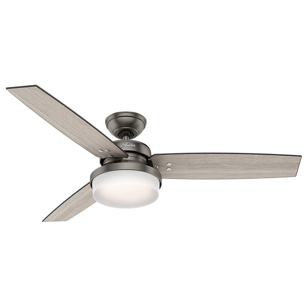"Hunter 59211 Sentinel Ceiling Fan 52"" with Brushed Slate, Light, And Remote"
