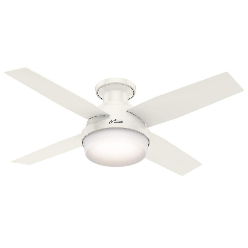 Hunter 59244 Fresh White Dempsey, 44 Inch Low Profile Ceiling Fan With Remote And Light