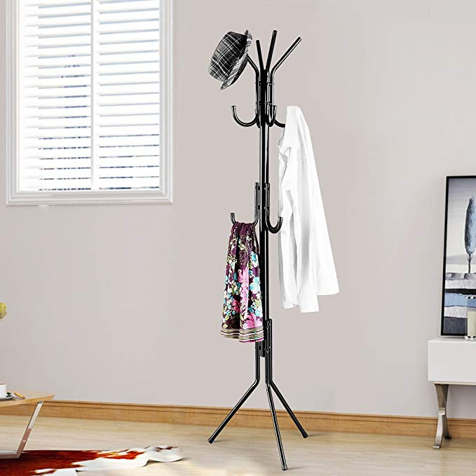 LANGRIA Standing Umbrella Tree Entryway Coat Rack with Base Metal (Black)
