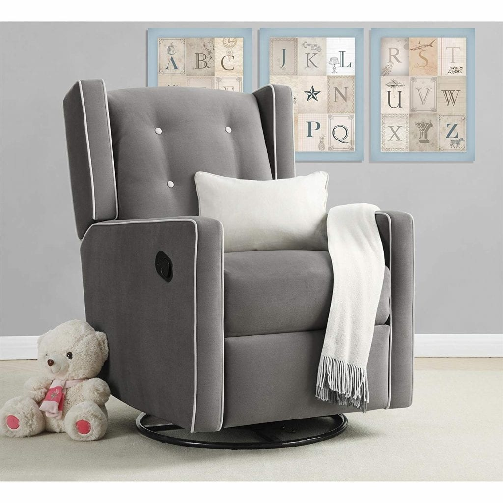 Mikayla Swivel Gray Microfiber Gliding Recliner From Baby Relax