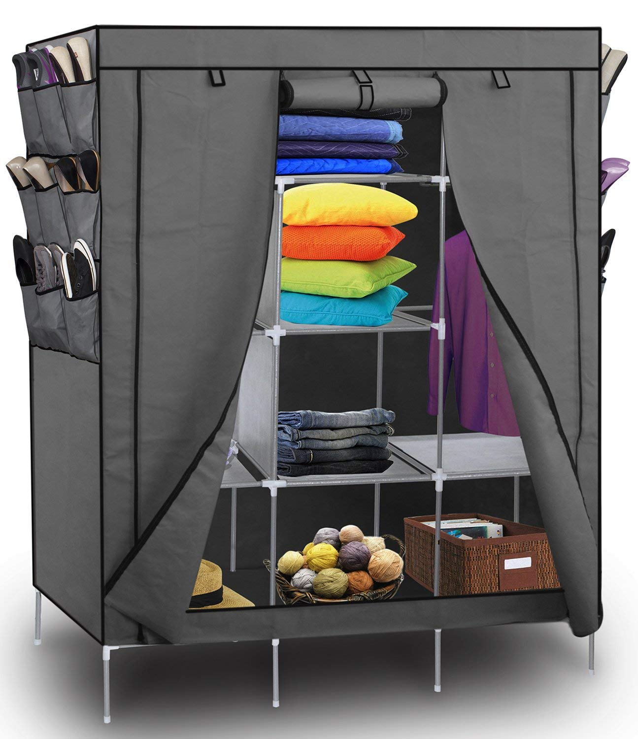 OxGord Portable Wardrobe Closet & Shoe Rack