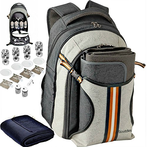 Upgraded Picnic Backpack 4 Person Set from Scuddles