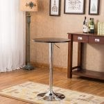 Roundhill Furniture - Adjustable table with metal, wood and chromed metal bar, black