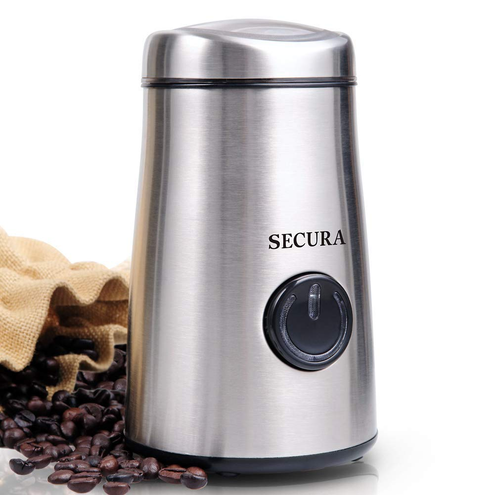 Secura Electric Coffee and Spice Grinder with Stainless