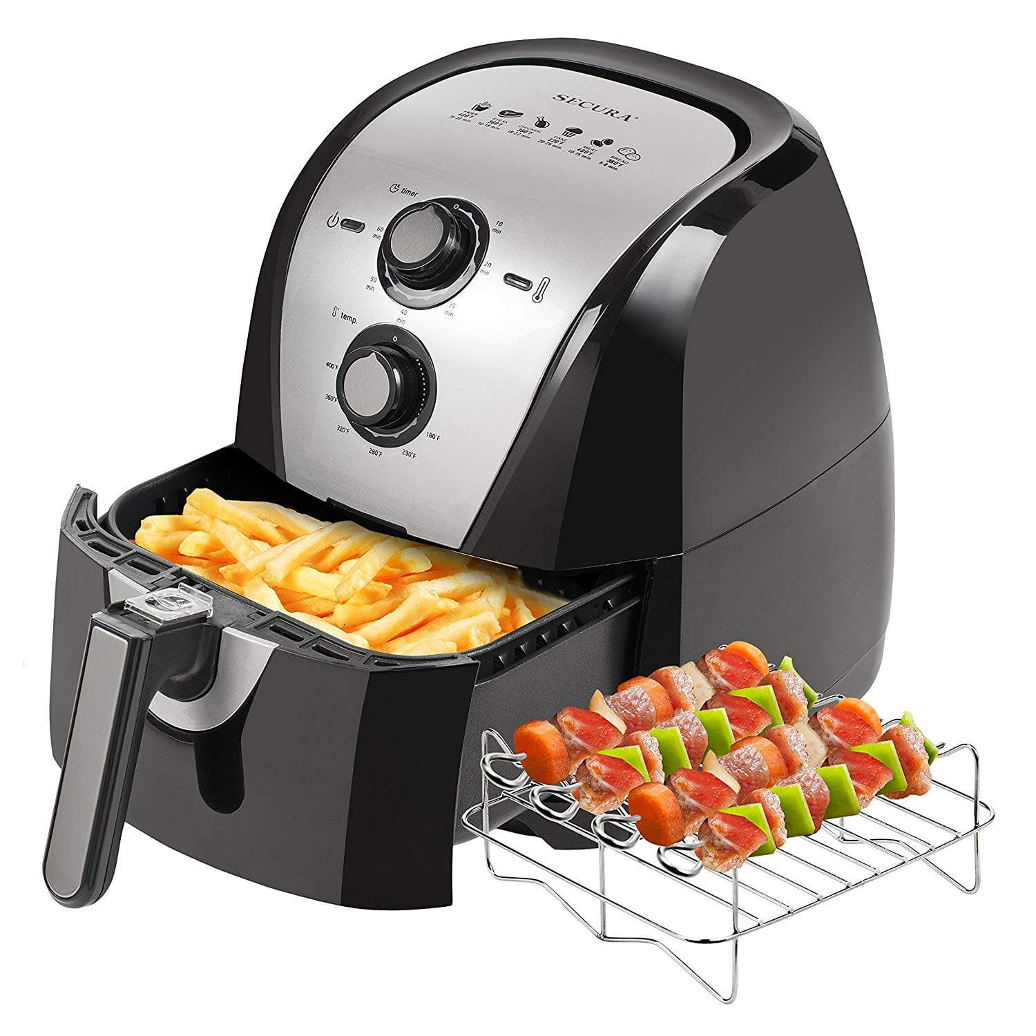 Secura Electric Extra Large Capacity Hot Air Fryer with Skewers and Recipes (5.3Qt)