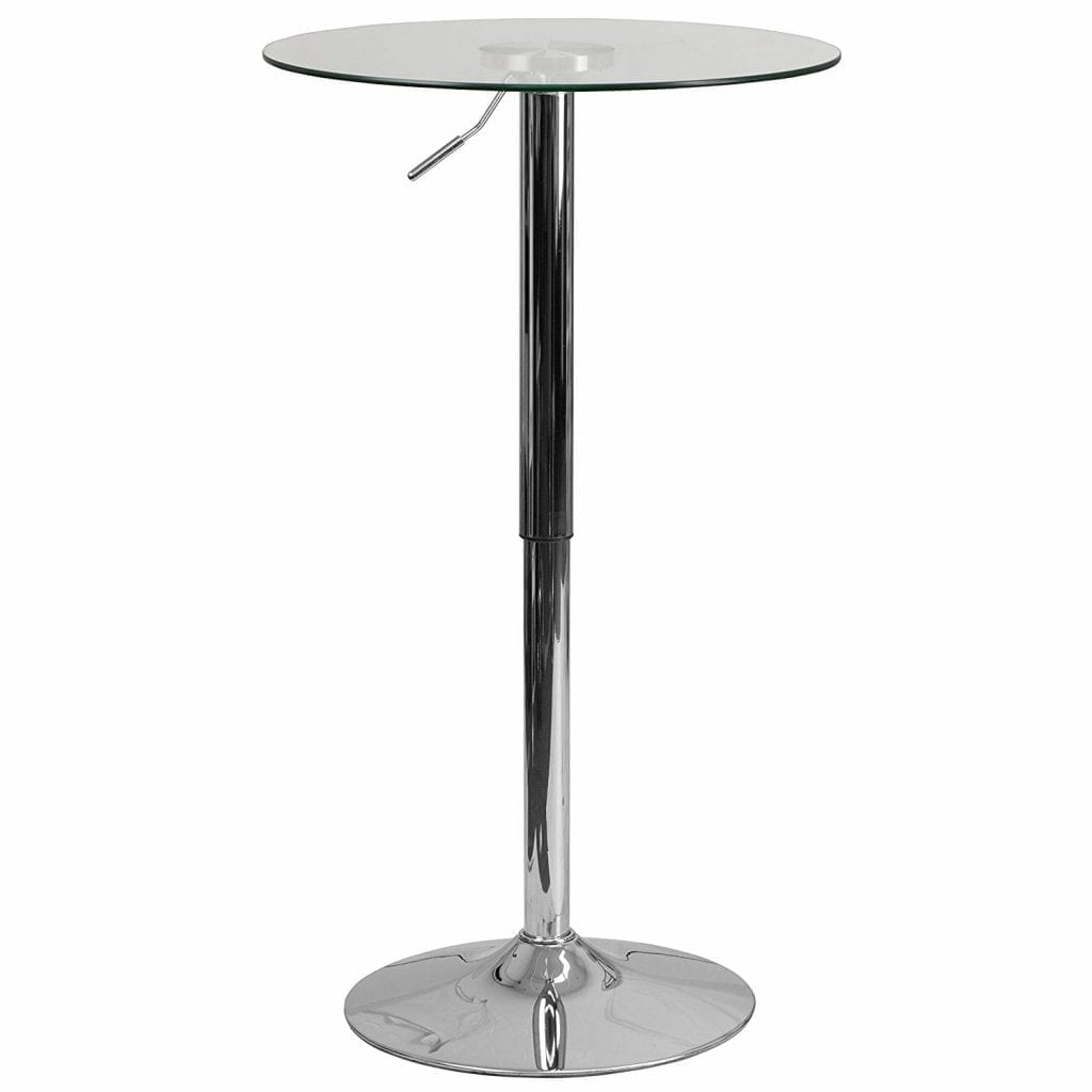 Streak Furniture 23.5 '' Adjustable Height Round Glass Table