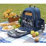 Sunflora Picnic Backpack For 4 Person Set With Insulated Waterproof Pouch For Family Outdoor Camping