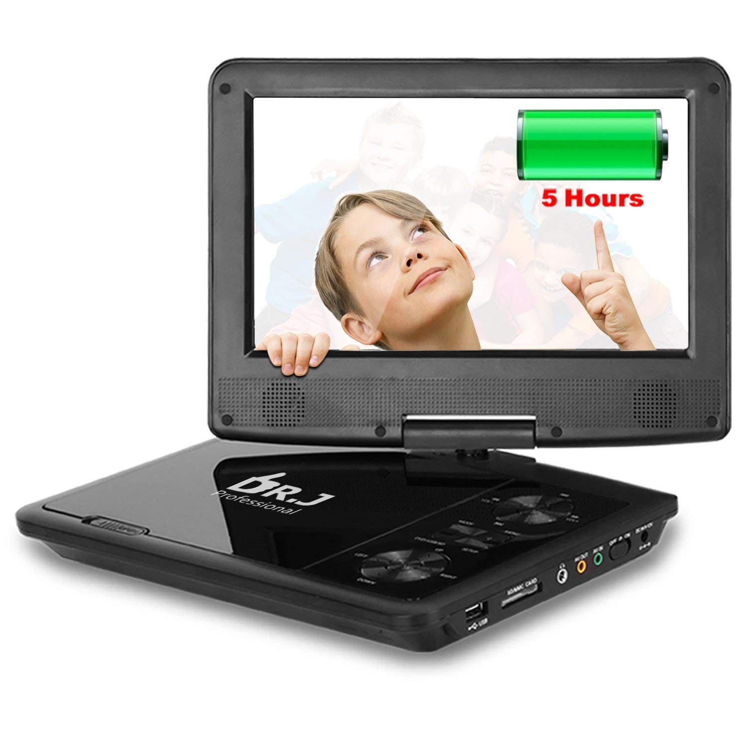 THZY 9.5 inch Screen Portable DVD Player With 270-Degree Swivel Screen, USB SD Card Reader and Built-In Rechargeable Battery