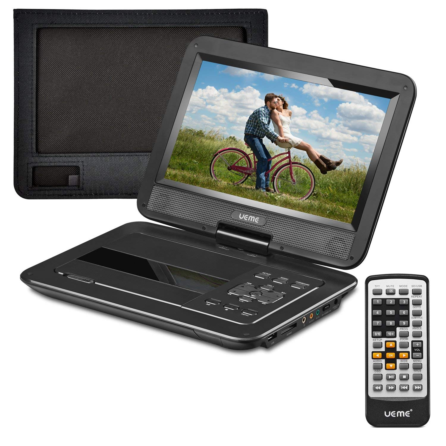 UEME 10.1-Inches Portable DVD Player with Swivel Screen and Car Headrest Mount Holder, PD-1020 (Black)