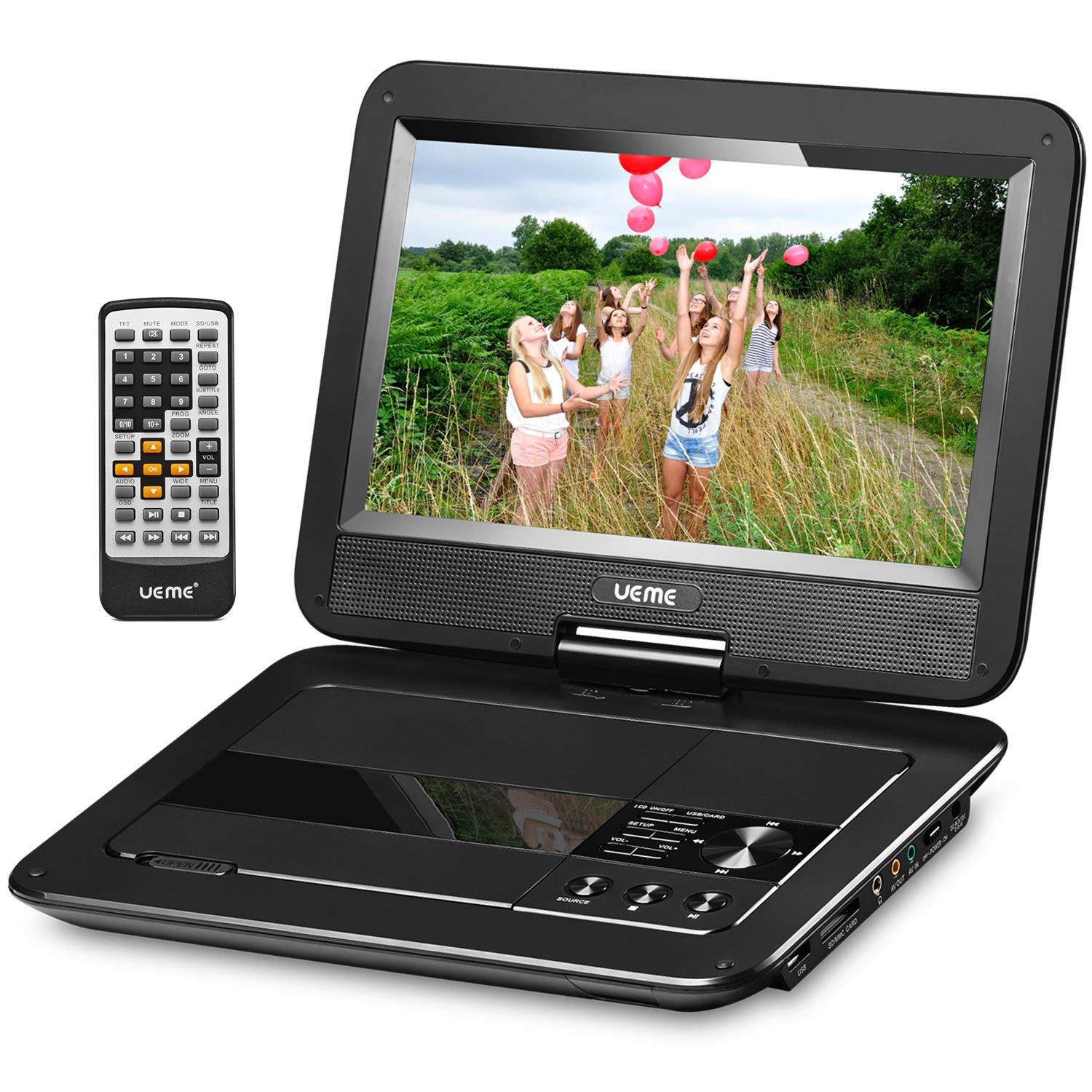 UEME 10.1-inches Portable DVD Player with Car Headrest Holder and Swivel Screen, PD-1010, (Black)