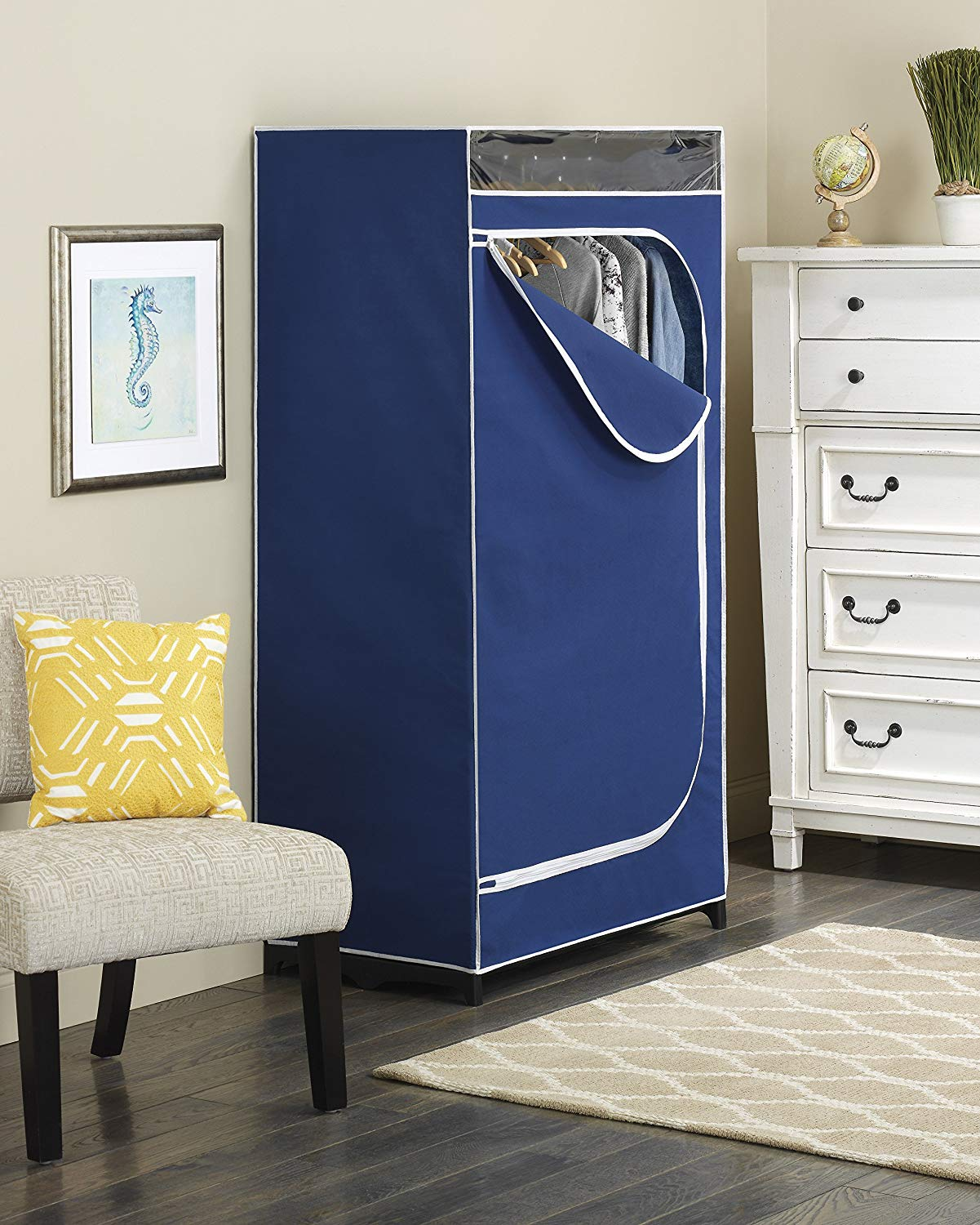 Whitmor Blue Fabric Covered Clothes Closet