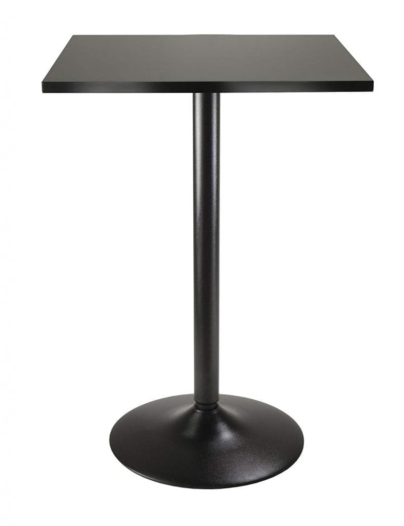 Winsome Obsidian Black High table with black leg and base