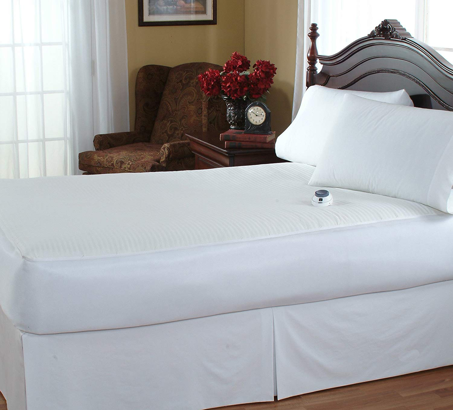 SoftHeat Waterproof & Stain Repellant Low-Voltage Heated Twin Mattress Pad, White