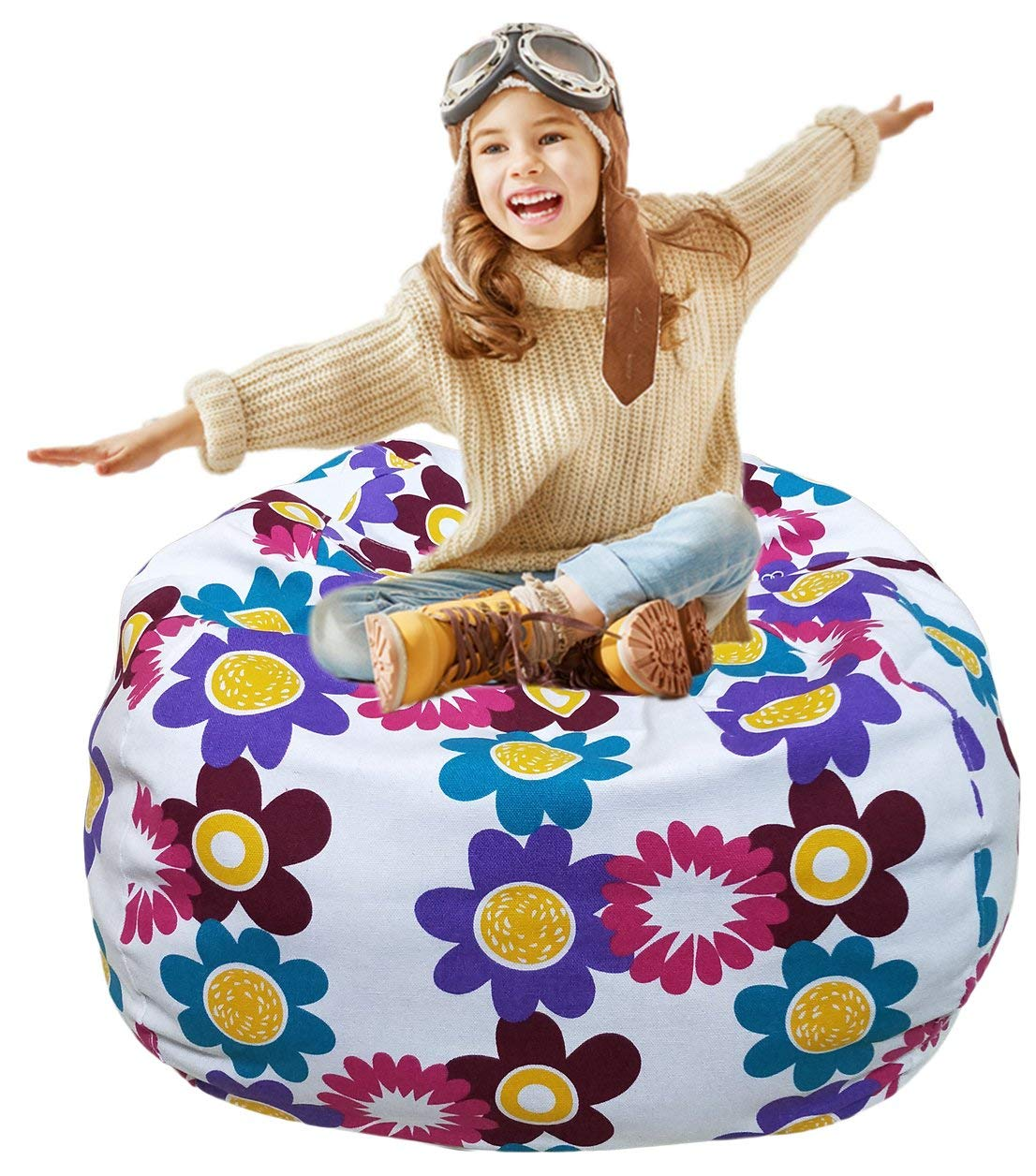 EDC Maker Kid's Stuffed Animal Storage Bean Bag Chair