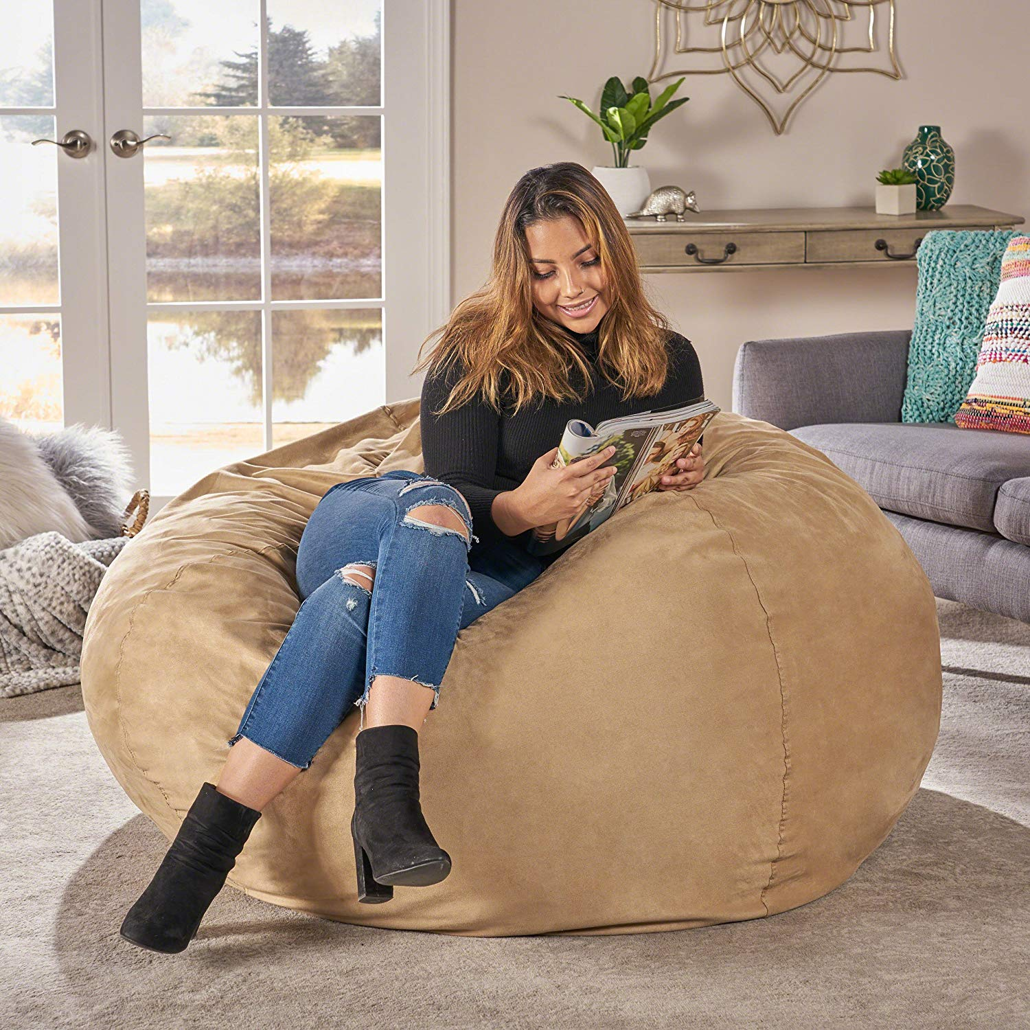 Great Deal Furniture Waldo Faux Suede 5 Feet Bean Bag