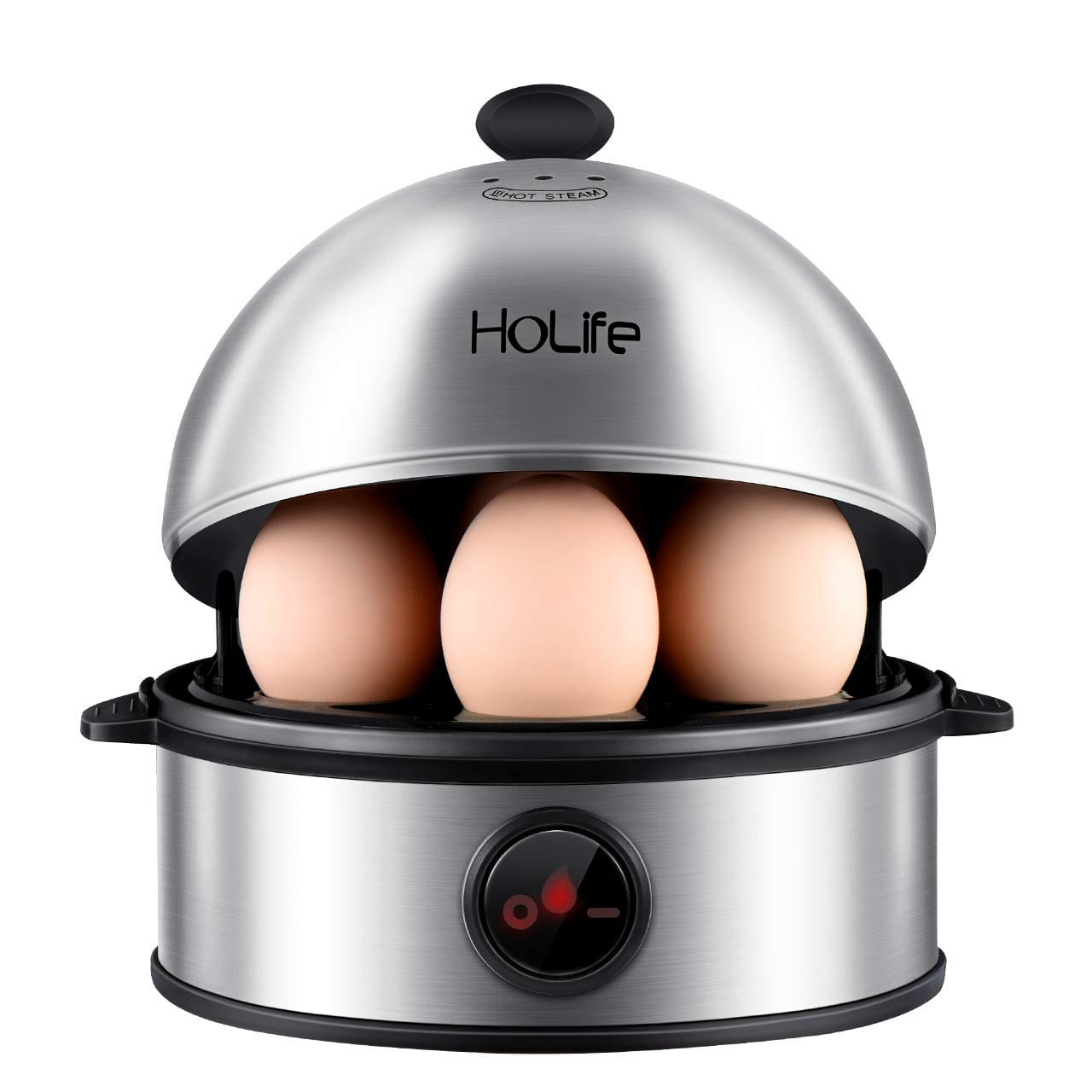HoLife Stainless Steel Egg Boiler Steamer with Auto Shut off