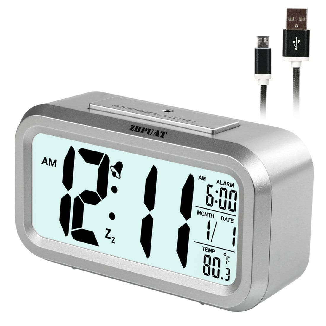 ZHPUAT 4.6-Inch Alarm Clock with Backlight and Dimmer