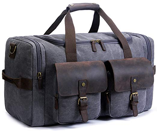 SUVOM Canvas Leather Weekend Carry-On Luggage Bag