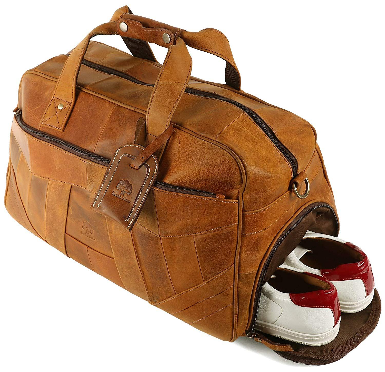 Rustic Genuine Leather Duffel Carry-On Luggage for Men