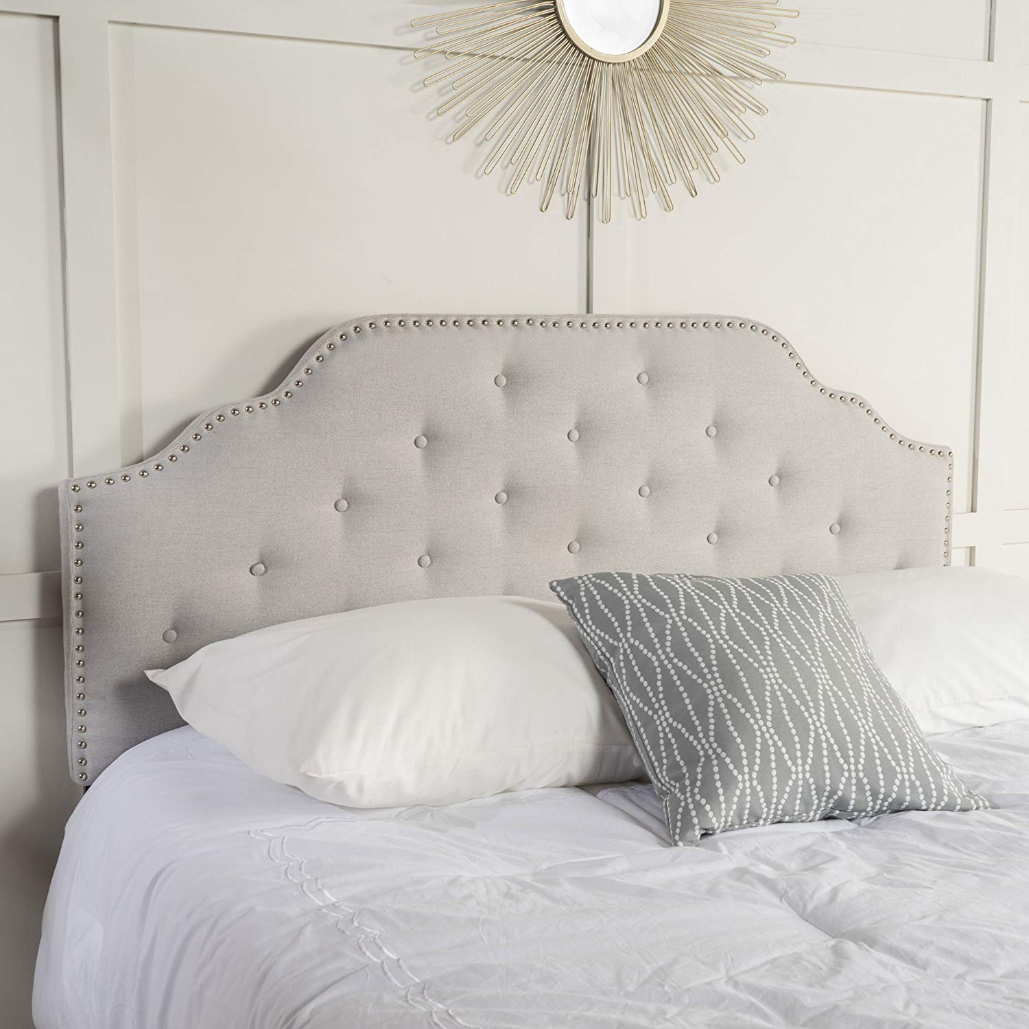 Austell Light Grey Fabric Queen Headboard