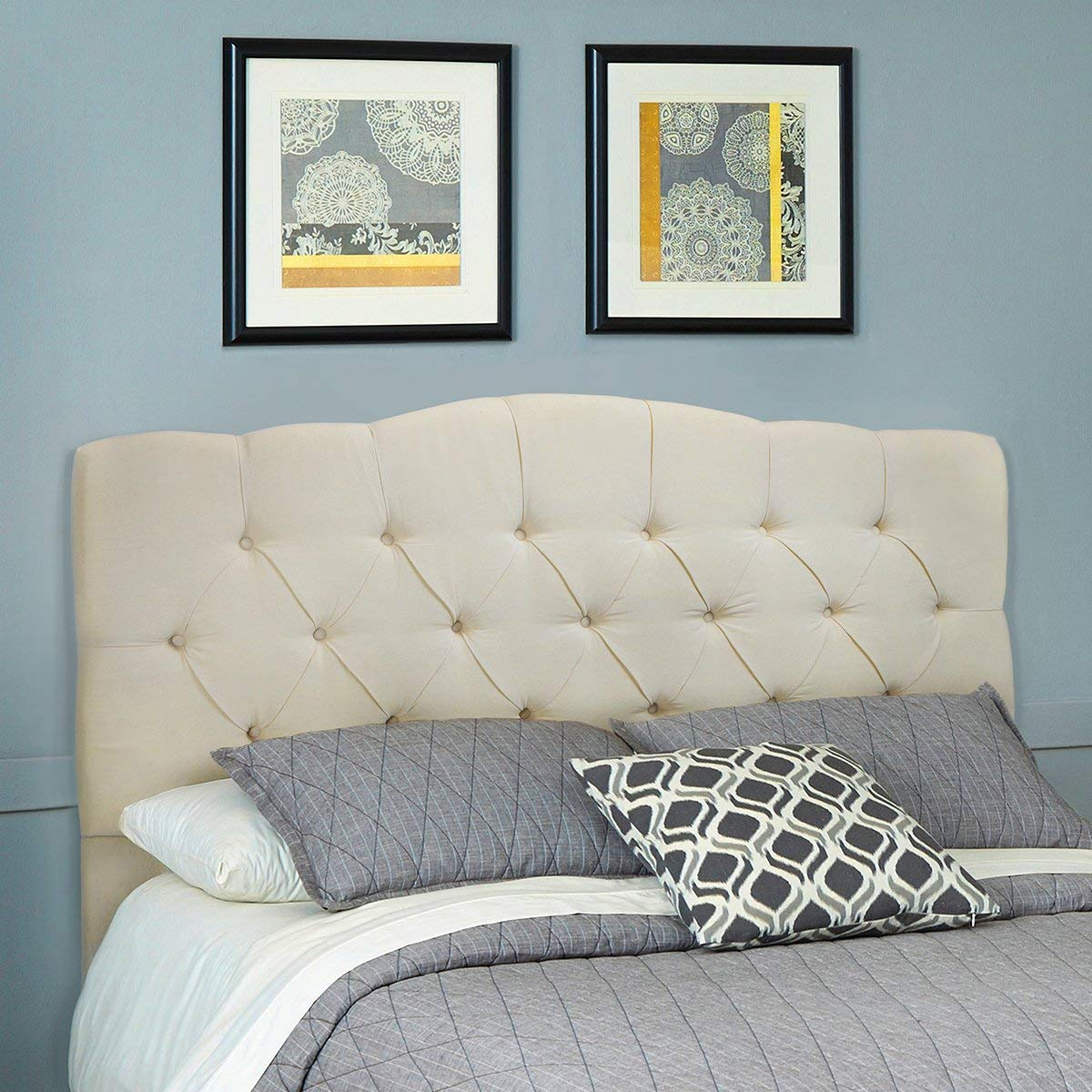 Barton Queen Cotton Upholstered Tufted Headboard