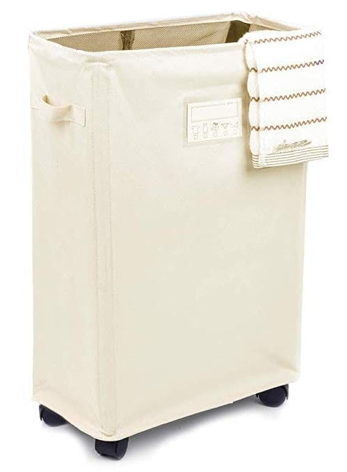 Caroeas Laundry Basket on Wheels, Slim Laundry Hamper Collapsible with Note Cards Waterproof Corner Hamper with Lid Breathable Mesh Cover